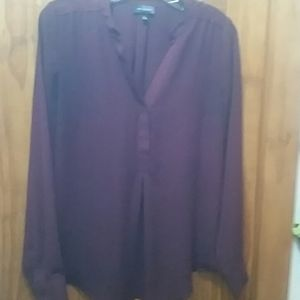 Wine colored long sleeve blouse